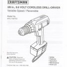 Craftsman Variable Speed Cordless 3/8 In. Cordless Drill Model 973.110770 Manual Not PDF