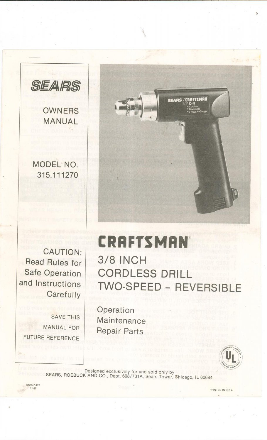craftsman two speed cordless 3 8 in cordless drill model. Black Bedroom Furniture Sets. Home Design Ideas