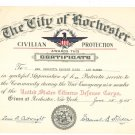 Vintage Civilian Protection Certificate United States Citizens Defense Corps. 1945