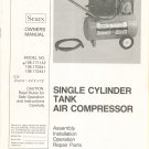 Sears Single Cylinder Tank Air Compressor Owners Manual 106.171142 106.170341 106.172441 Not PDF