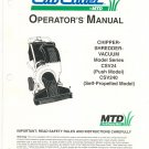 Cub Cadet Chipper Shredder Vacuum Owners Manual Model CSV24 CSV240 Not PDF