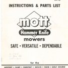 Mott Hammer Knife Mowers Instructions & Parts List Not PDF