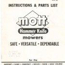 Mott Hammer Knife Mowers Instructions & Parts List Not PDF