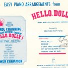 Easy Piano Arrangements From Hello Dolly by Jerry Herman Edwin Morris Inc. Vintage First Printing