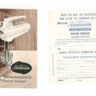 Vintage Sunbeam Mixmaster Hand Mixer Recipe & Instruction Book With Warranty Card Cookbook