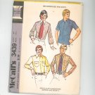 "McCall's Men's Dress & Sport Shirt Pattern Number 3439 Chest 44 Neck 16 1/2"""
