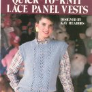 Leisure Arts Quick To Knit Lace Panel Vests Leaflet 476 Kay Meadors