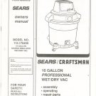 Sears Craftsman Wet Dry Vac Model 113 178490 Owners Manual