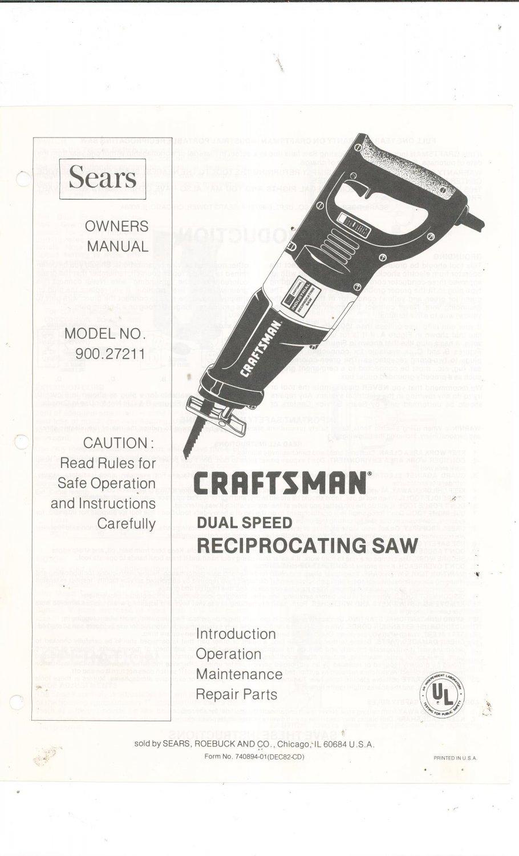 sears craftsman dual speed reciprocating saw model 900. Black Bedroom Furniture Sets. Home Design Ideas