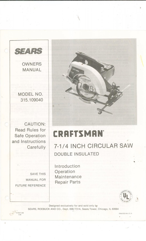 sears craftsman 7 1 4 inch circular saw model 315 109040. Black Bedroom Furniture Sets. Home Design Ideas