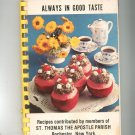 Vintage Always In Good Taste Cookbook Regional St. Thomas The Apostle Parish New York Church