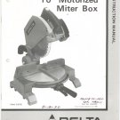 "Delta 10"" Motorized Miter Box Instruction Manual With Parts List Not PDF"