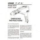 Ungar Heat Gun Model 6970 Operating Instructions Not PDF