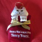 Fancy Feast 1996 Christmas Ornaments Cat In Gift Bag With Box