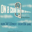 On A Clear Day You Can See Forever Vintage Sheet Music Lerner & Lane Chappell