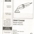 Sears Craftsman Detail Sander Owners Manual 315.116000 Not PDF
