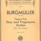Burgmuller Op. 100 Volume 500 Schirmers Library Musical Classics Vintage