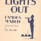 Lights Out Famous March Sheet Music Vintage Mc Coy Fischer