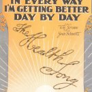 Day By Day In Every Way I'm Getting Better Day By Day Sheet Music Vintage Jerome Schwartz Remick