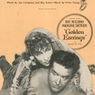 Golden Earrings Livingston Evans Young  Sheet Music Paramount Vintage