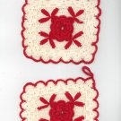 Vintage Lot Of 2 Crocheted Potholders Red & White Center Flower