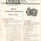 Vintage Trane Hermetic Reciprocating Compressor Model E & F Service Manual Not PDF