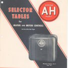Vintage Arrow Hart Selector Tables For Heaters & Motor Controls Across Line Catalog
