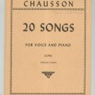 Chausson 20 Songs For Voice And Piano Low International Music