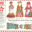 Vintage Lums Restaurant Children's Stars And Stripes Menu With Betsy Ross Dress Ups