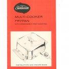 Sunbeam Multi Cooker Frypan Manual & Cookbook Vintage