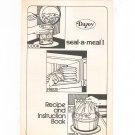 Dazey Seal A Meal I Manual & Cookbook Vintage