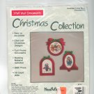 Christmas Collection 3 Puff Mat Ornaments Holiday Fun 82158 Cross Stitch Needle Form In Package