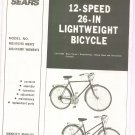 "Sears 12 Speed 26"" Lightweight Bicycle Model 489.474370 Or 489.474380 Owners Manual Not PDF"