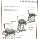 Turco Gas Grill Model 34781 Owners Manual With Parts List Not PDF