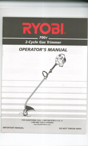 Ryobi 700r 2 Cycle Gas Trimmer Owner's Manual Not PDF