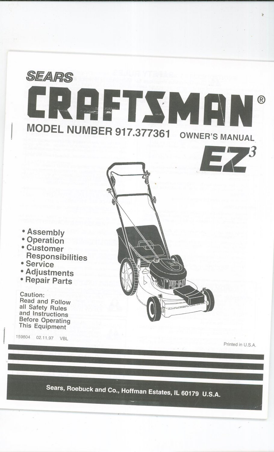 Sears Craftsman Model 917 Mower : Sears craftsman lawn mower ez model operating