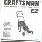 Sears Craftsman Lawn Mower EZ3 Model 917.377361 Operating Instructions & Parts List Not PDF