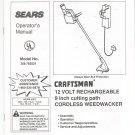 Sears Craftsman 12 Volt Cordless Weedwacker Model 358.783521 Operating Instructions Not PDF