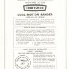 Craftsman Dual Motion Sander Model 315.22400 Operating Instructions & Parts List Not PDF