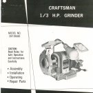Craftsman 1/3 H.P. Grinder Model 397.19580 Operating Instructions & Parts List Not PDF