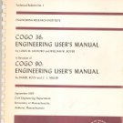 Vintage University of Massachusetts COGO 36 Engineering User's Manual 1965 Santoro Boyer