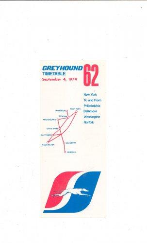Vintage Greyhound Timetable 62 New York Philadelphia Baltimore Norfolk Washington 1974 Not PDF