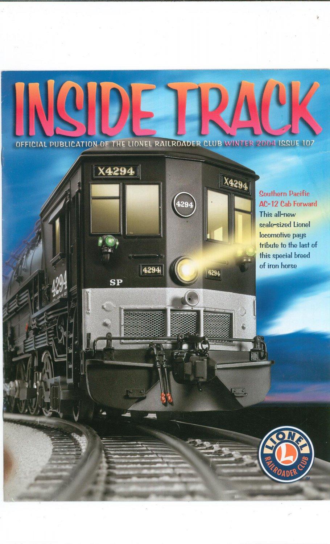 Lionel Railroader Club Inside Track Winter 2004 Issue 107 Not PDF Train