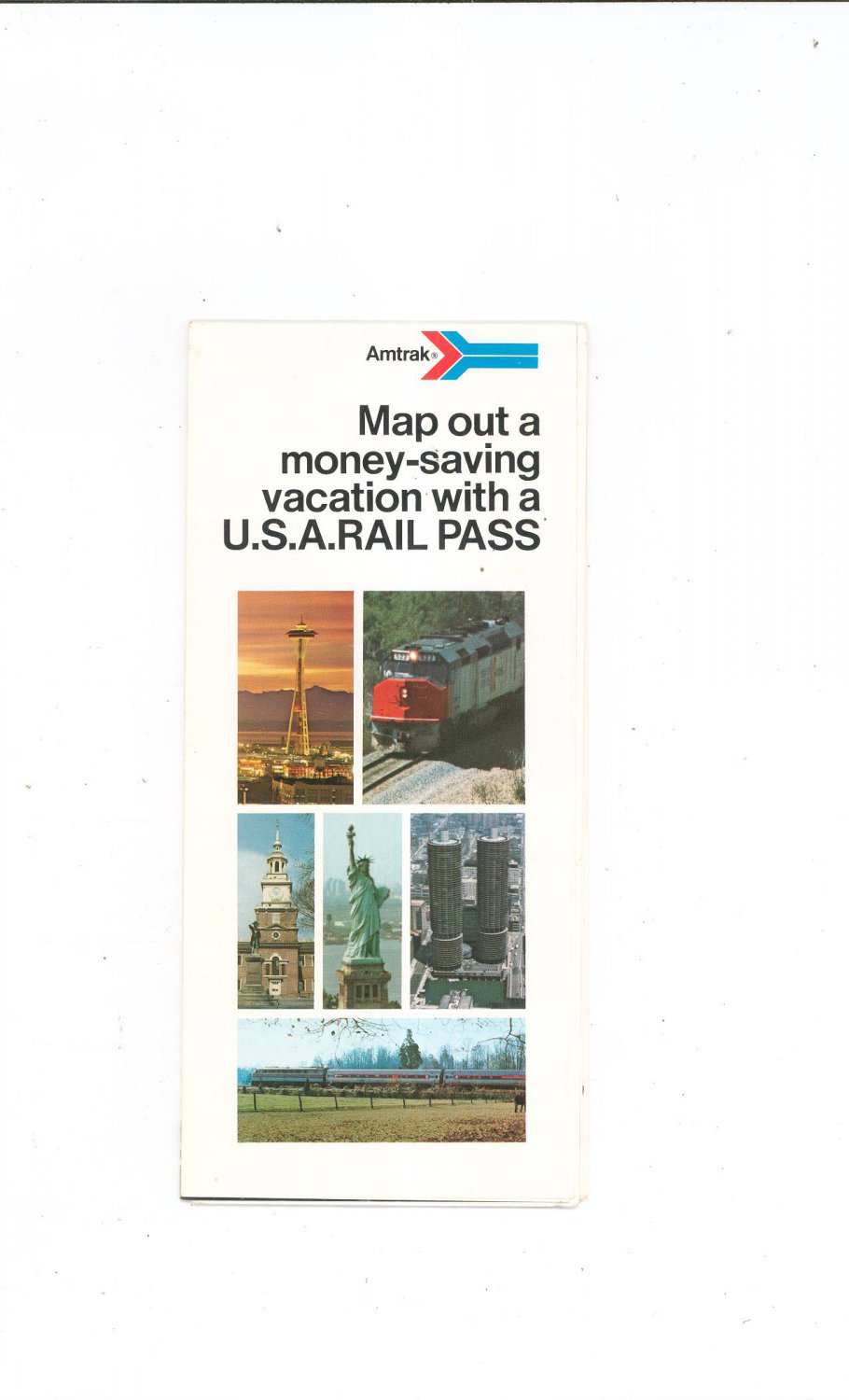 Vintage Amtrak Map Out A Money Saving Vacation With A U.S.A. Rail Pass Brochure 1977