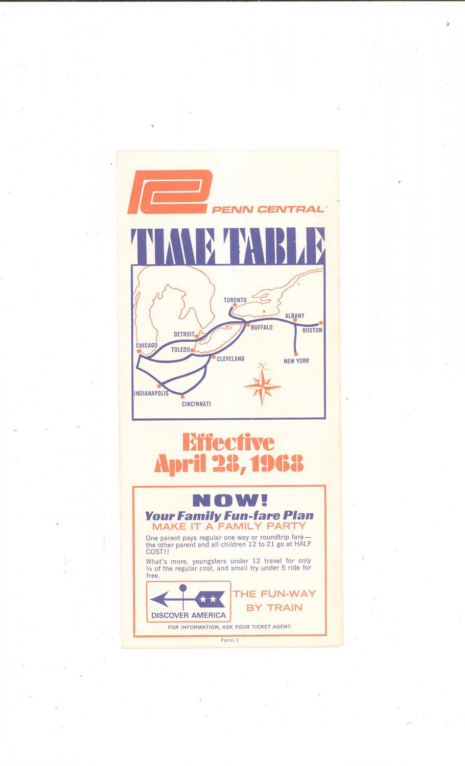 Vintage Penn Central Time Table 1968 Train
