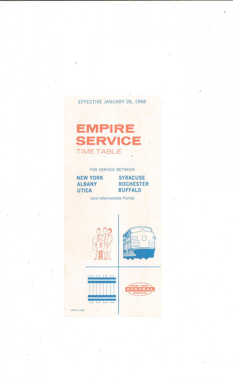 Vintage Empire Service Time Table 1968 Train