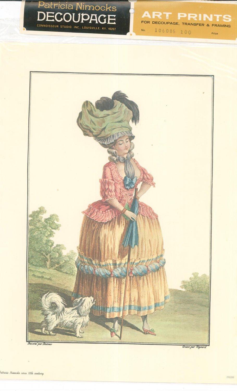 Patricia Nimocks Decoupage Art Print 18th Century Woman With Dog 106086 100