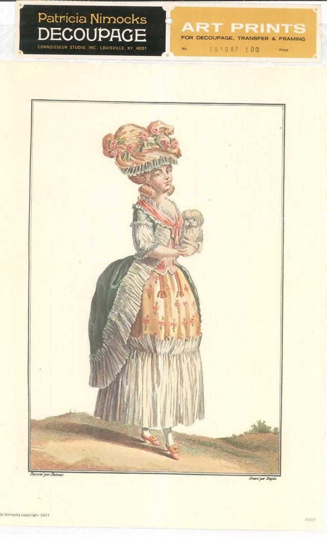 Patricia Nimocks Decoupage Art Print 18th Century Woman Holding Dog 106087 100