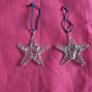 Pair Of Brass Colored Wire Star Christmas Ornaments Very Nice Hand Made ?