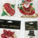Lot Of 9 Assorted Sequin Appliques Christmas Themed In Packages